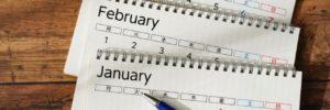 カレンダー 1月、2月、3月